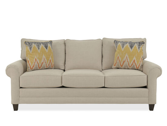 "Rolled Arm Casual 85"" Sofa in Beige"