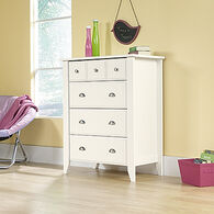 """43"""" Traditional Paneled Four-Drawer Chest in Soft White"""