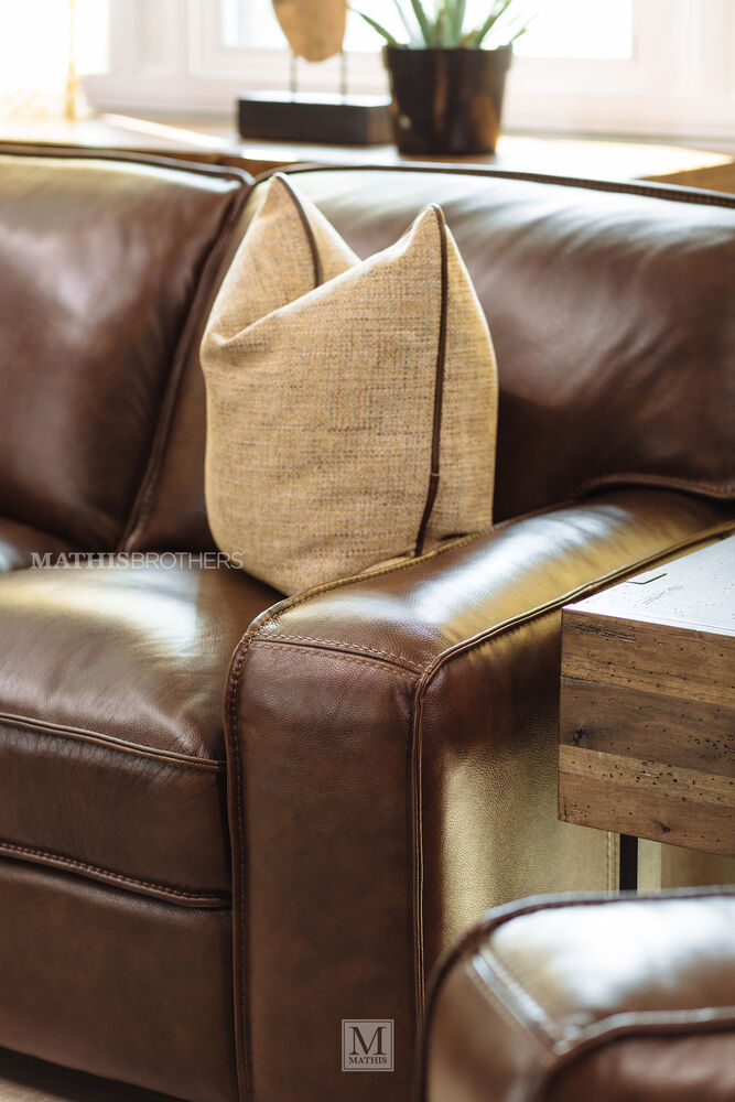 "Brown Leather Couches Living Room Decor Red Accents: Traditional 93"" Leather Sofa In Brown"