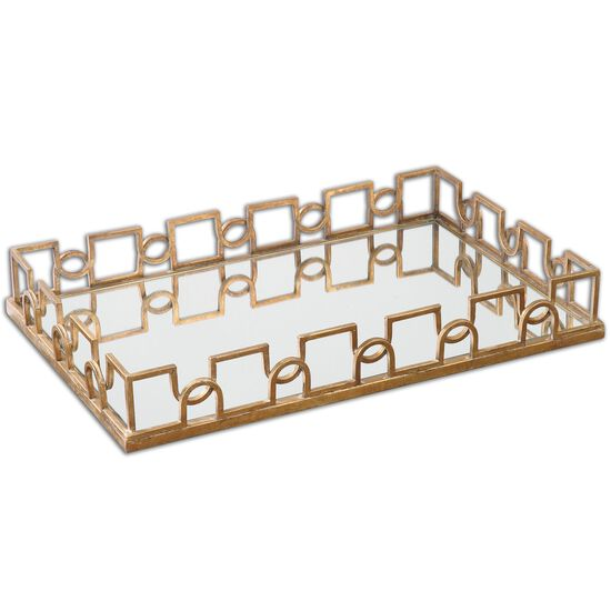 "Trellis-Framed 27"" Mirrored Tray in Brass Patina"