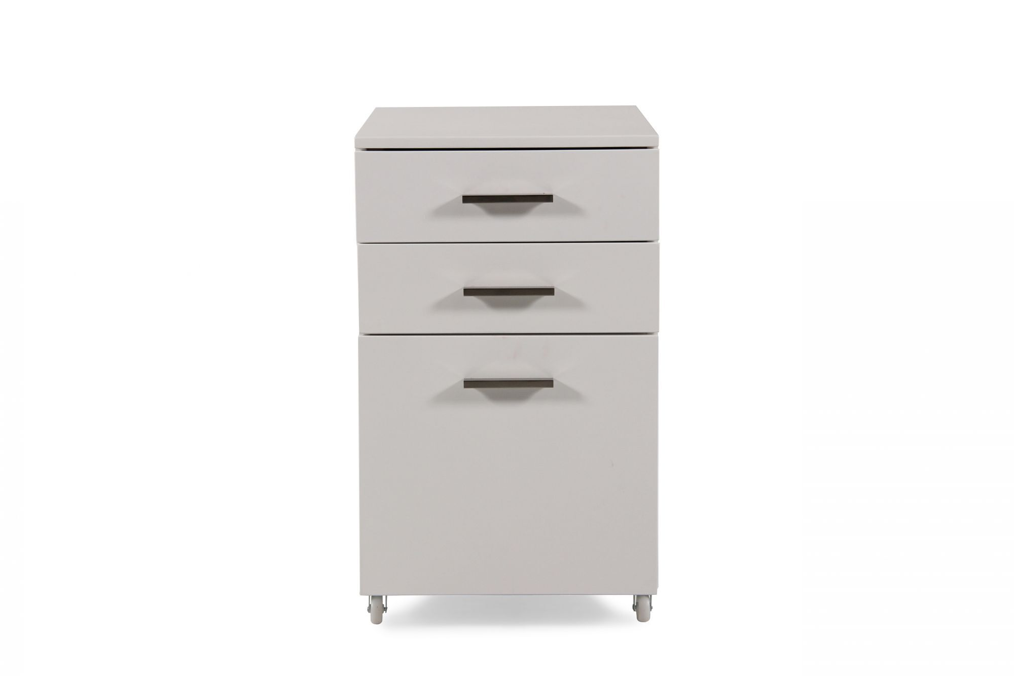 Superieur Three Drawer Contemporary File Cabinet In White