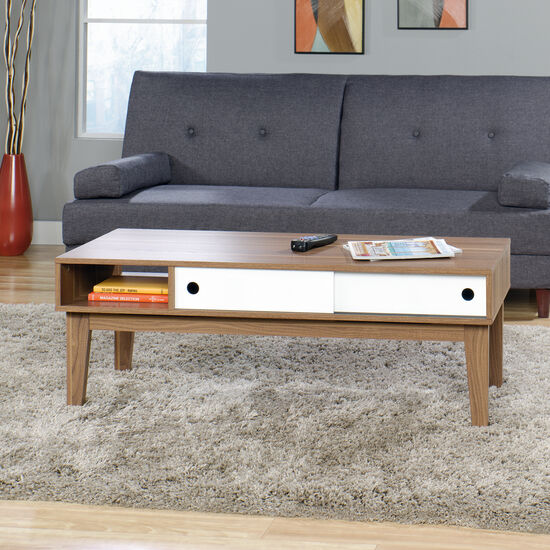 Lane Sliding Door Coffee Table: Rectangular Sliding-Door Traditional Coffee Table In