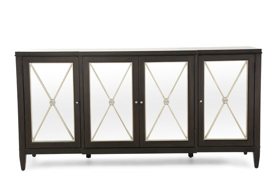 Metropolitan X-Shaped Grille Inserts Entertainment Console in Dark Brown