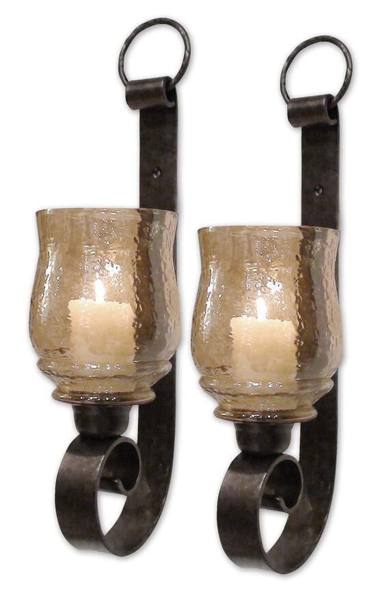 Two-Piece Small Wall Sconces in Antique Bronze
