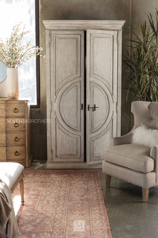 """88"""" Distressed Traditional Wardrobe in White"""