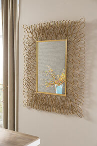 "50"" Petal Ribbon Patterned Accent Mirror in Antique Gold"