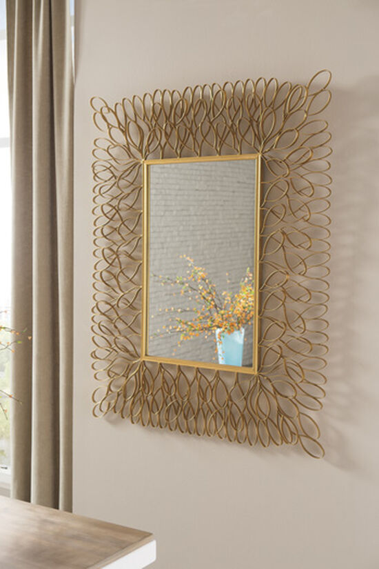 """50"""" Petal Ribbon Patterned Accent Mirror in Antique Gold"""