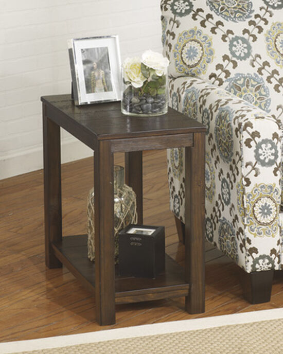 Casual One-Shelf End Table in Brown Cherry
