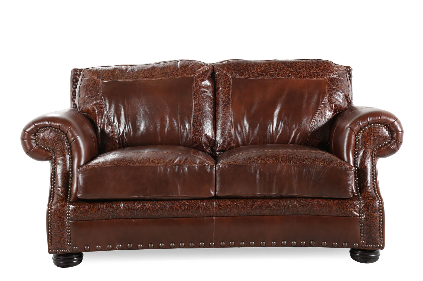 Paisley Traditional 75 Loveseat In Dark Oak Mathis