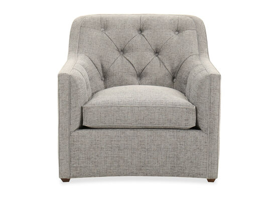 """Button-Tufted 34"""" Chair in Tweedy Blue"""