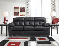 "Ashley Tufted 87"" Sofa in Midnight Black"