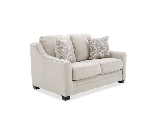 "Nailhead-Trimmed Contemporary 65"" Loveseat in Sand"