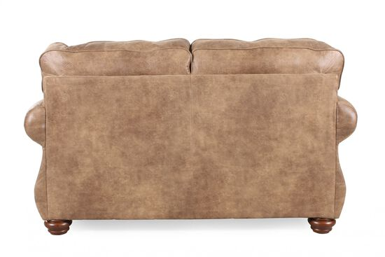 """Nailhead-Trimmed Traditional 66"""" Loveseat in Brown"""