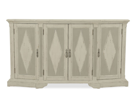 "72"" Diamond-Patterned Credenza in Gray"