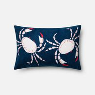 "Loloi Contemporary 13""x21"" Cover w/poly pillow in Navy/Coral"