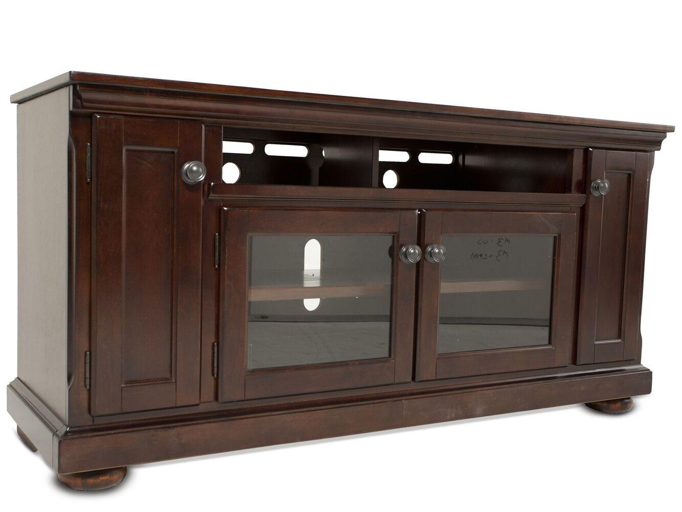 twoglass door traditional tv stand in dark brown  mathis  - twoglass door traditional tv stand