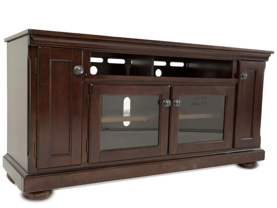 Two Glass Door Traditional Tv Stand In Dark Brown Mathis Brothers Furniture