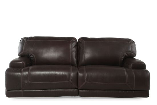 Causal Leather Sofa in Dark Walnut