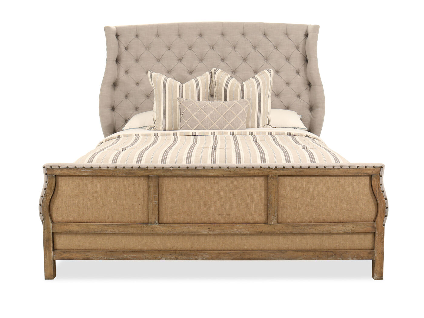 tufted bed. 72.5\u0026quot; Traditional Button Tufted Bed In Gray