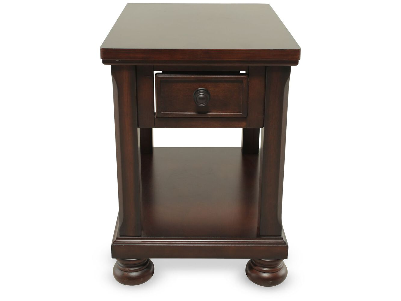 Rectangular one drawer traditional end table in brown for End tables with drawers