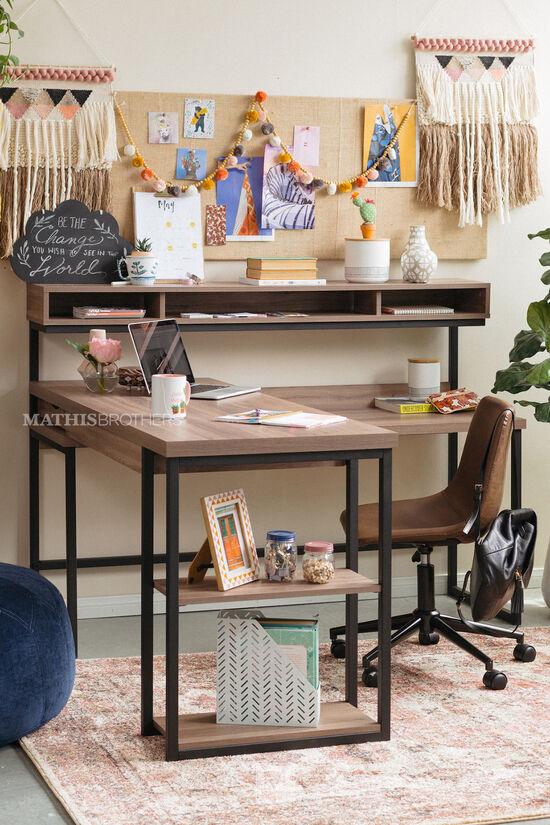 """61"""" Casual L-Shaped Desk in Salt Oak"""