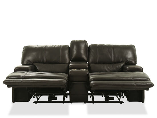 "Power Reclining Traditional Leather 80"" Loveseat in Medium Black"