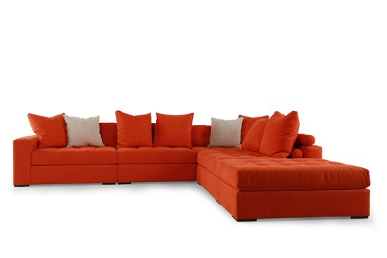 Five-Piece Contemporary Tufted Sectional in Orange