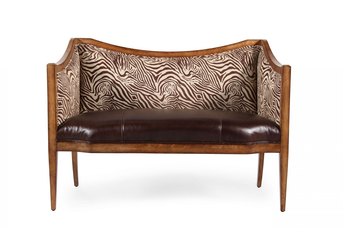 Leather 50 Quot Animal Printed Accent Bench In Brown Mathis