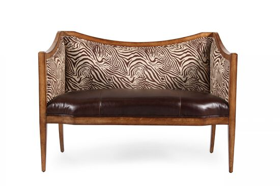 """Leather 50"""" Animal Printed Accent Bench in Brown"""