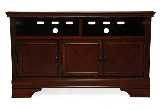 "30"" Three-Door Traditional TV Stand in Dark Brown"