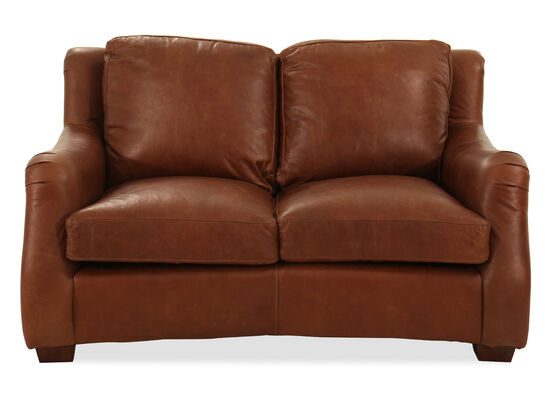 "62"" Leather Loveseat in Brown"