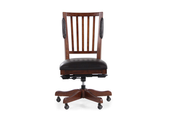 Leather Swivel Tilt Office Chair in Mellow Brown