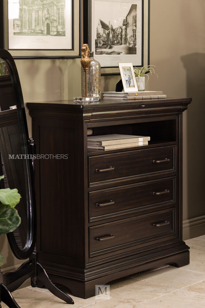 46 Traditional Four Drawer Media Chest In Black Mathis Brothers Furniture