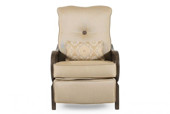 Curved Arm Casual Patio Recliner in Cream