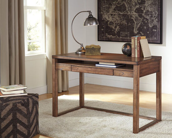 """48"""" Small Contemporary Open-Shelf Desk in Brown"""