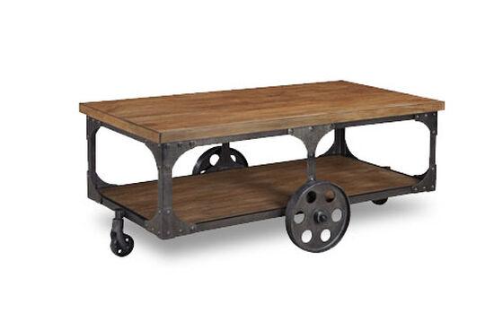 Open shelf rustic farmhouse coffee table in dark brown for Rustic dark brown coffee table