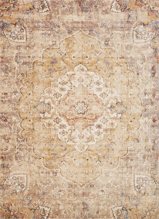 """Traditional 1'-6""""x1'-6"""" Square Rug in Ant Ivory/Sand"""