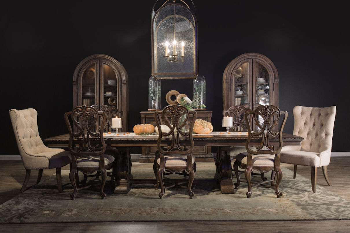 Transitional 88u0026quot; To 128u0026quot; Double Pedestal Dining Table ...
