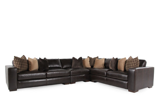 """Leather 218.5"""" Sectional in Walnut Brown"""