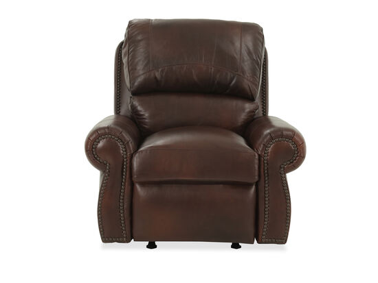 Nailhead-Trimmed Leather 44'' Recliner in Amaretto