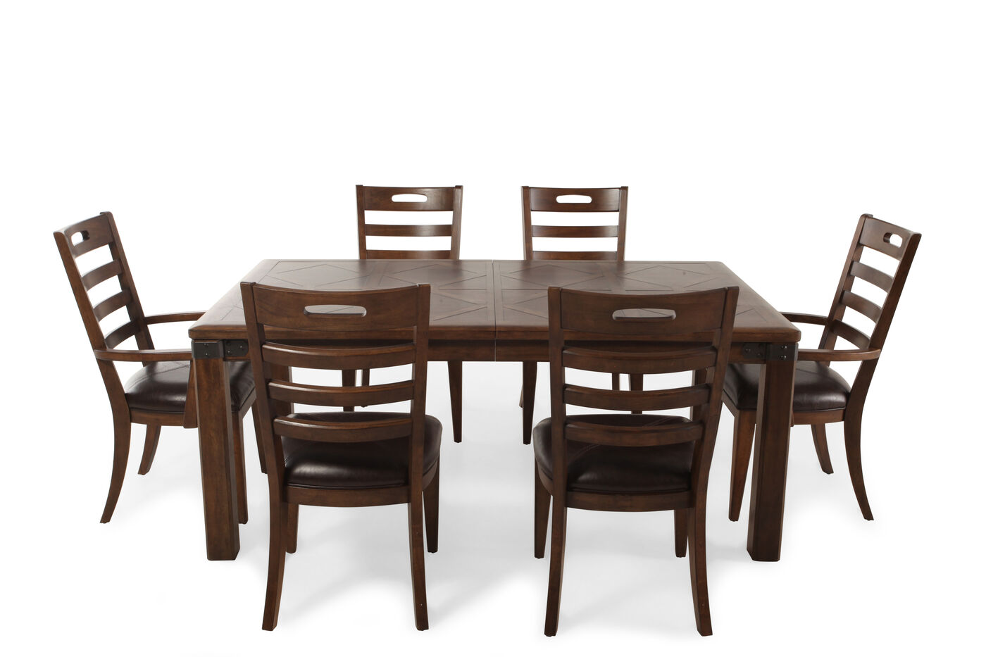 Seven piece traditional 70 39 39 dining set in medium brown for Naaptol kitchen set 70 pieces