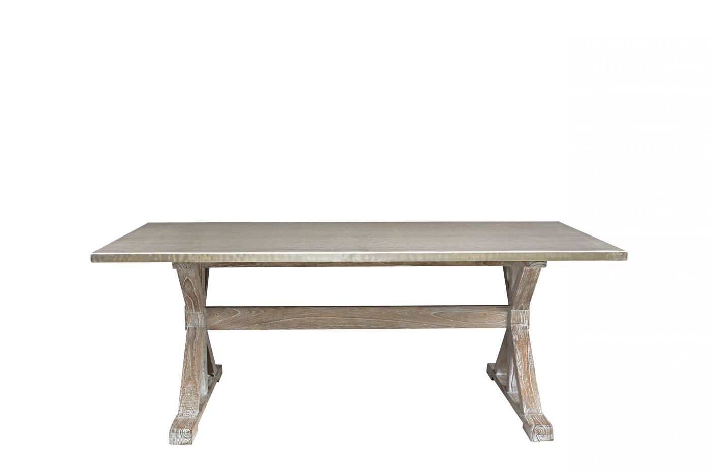 Images Transitional Trestle Dining Table In Sandblasted Driftwood