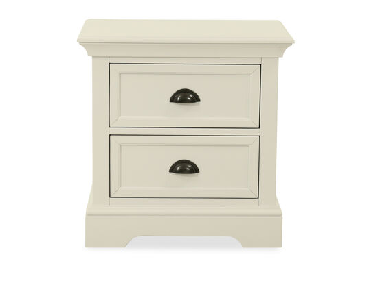 Contemporary Two-Drawer Youth Nightstand in White