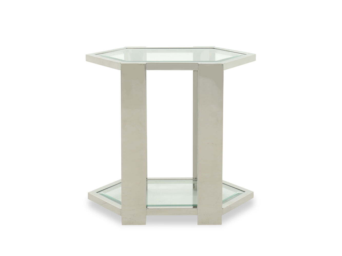 Tempered Glass Transitional End Table In White Mathis
