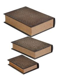 Three-Piece Book-Shaped Boxes in Aged Mahogany