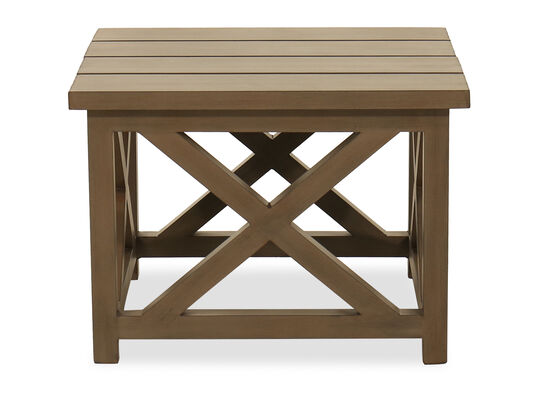 Slat Top Aluminum End Table in Brown