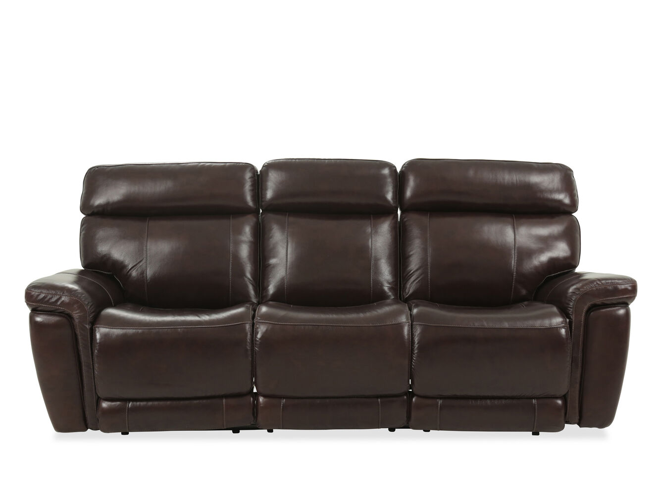 91 leather power reclining sofa in brown mathis brothers furniture. Black Bedroom Furniture Sets. Home Design Ideas