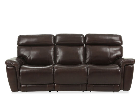 "91"" Leather Power Reclining Sofa in Brown"