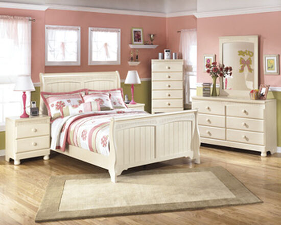Casual Two-Drawer Youth Nightstand in Cream