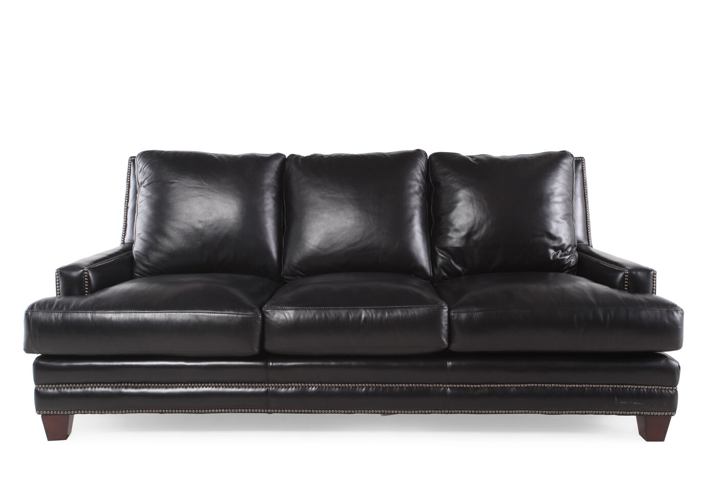 Nailhead Accented Leather 86 Quot Sofa In Black Mathis